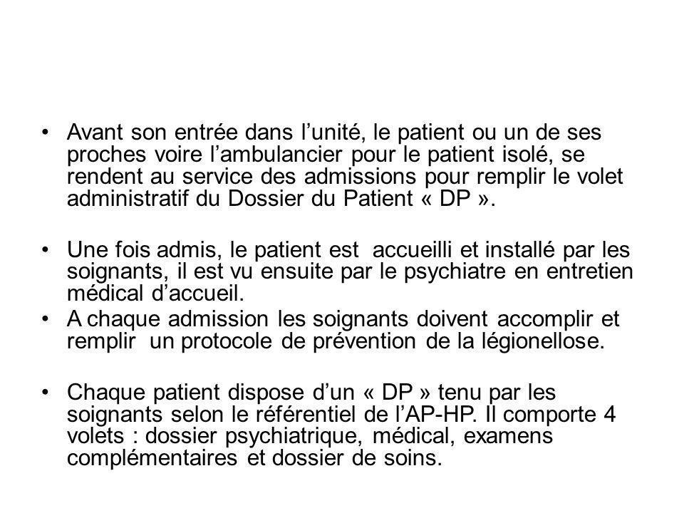 Avant son entrée dans l'unité, le patient ou un de ses proches voire l'ambulancier pour le patient isolé, se rendent au service des admissions pour remplir le volet administratif du Dossier du Patient « DP ».
