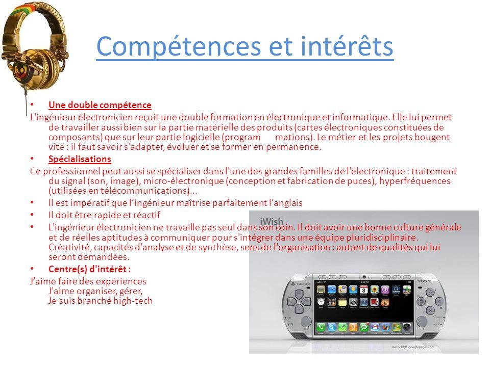 Compétences et intérêts