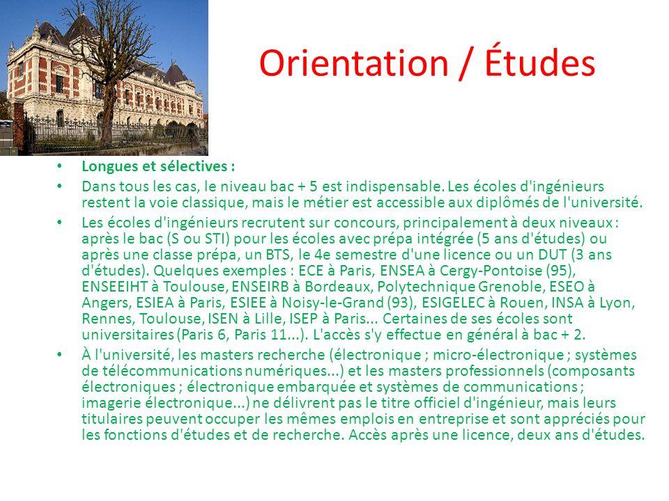 Orientation / Études Longues et sélectives :