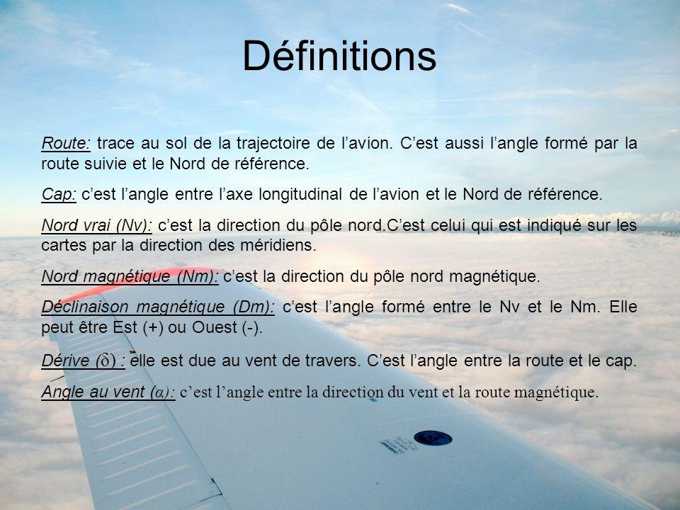 Définitions Route: trace au sol de la trajectoire de l'avion. C'est aussi l'angle formé par la route suivie et le Nord de référence.