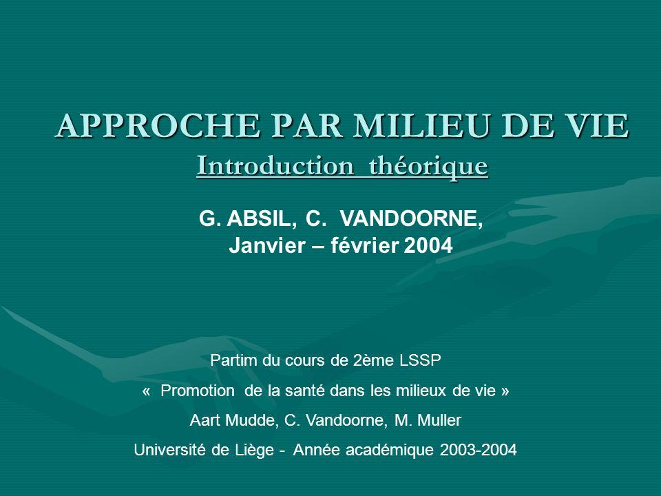 APPROCHE PAR MILIEU DE VIE Introduction théorique