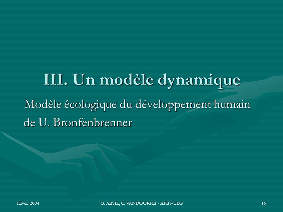 III. Un modèle dynamique