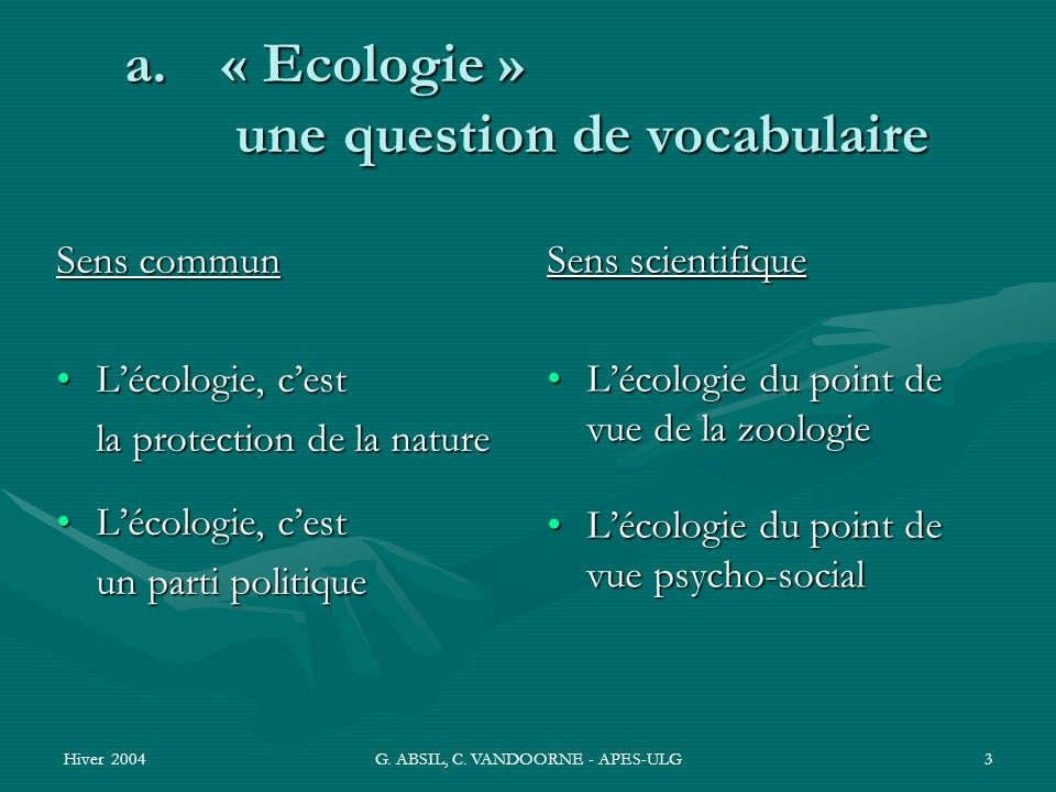 « Ecologie » une question de vocabulaire