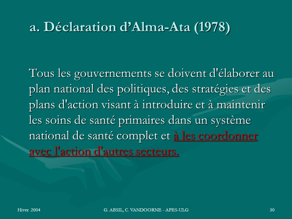 a. Déclaration d'Alma-Ata (1978)