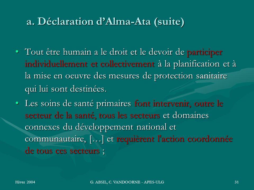 a. Déclaration d'Alma-Ata (suite)