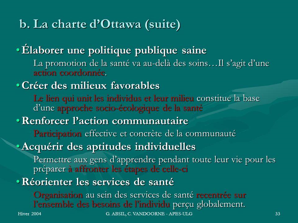 b. La charte d'Ottawa (suite)