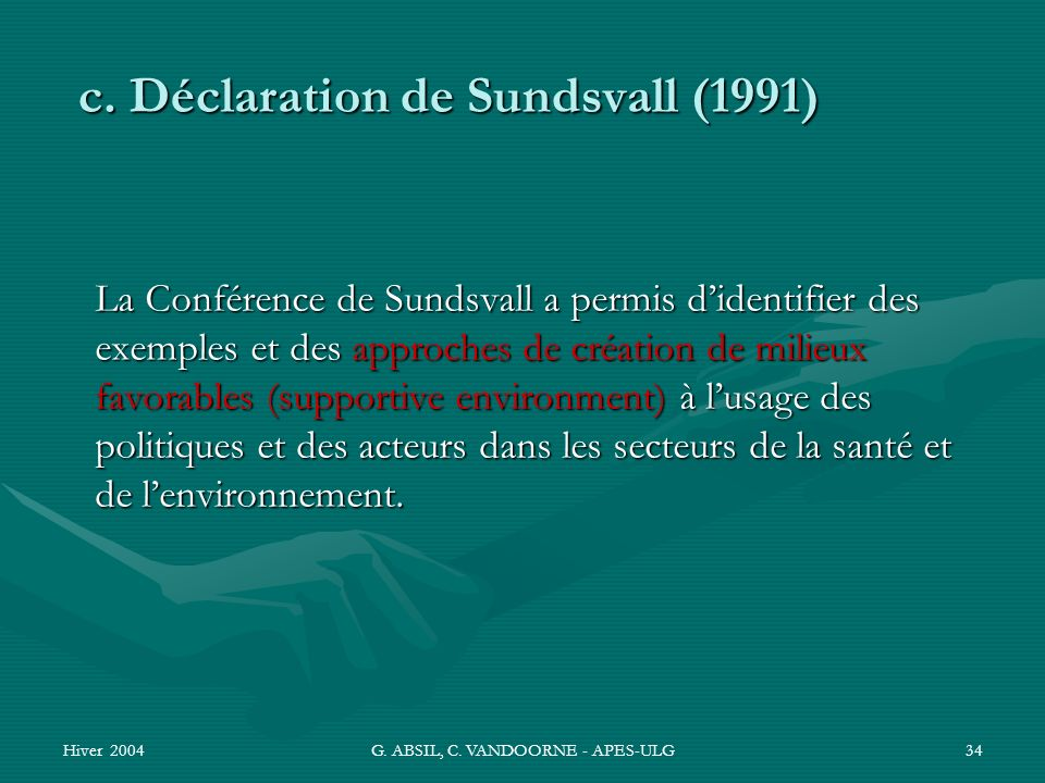 c. Déclaration de Sundsvall (1991)