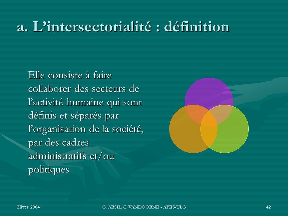 a. L'intersectorialité : définition