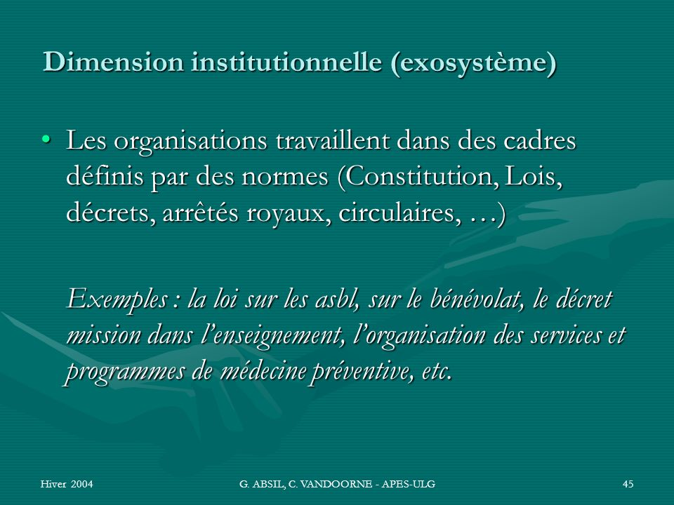 Dimension institutionnelle (exosystème)