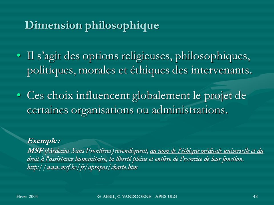 Dimension philosophique