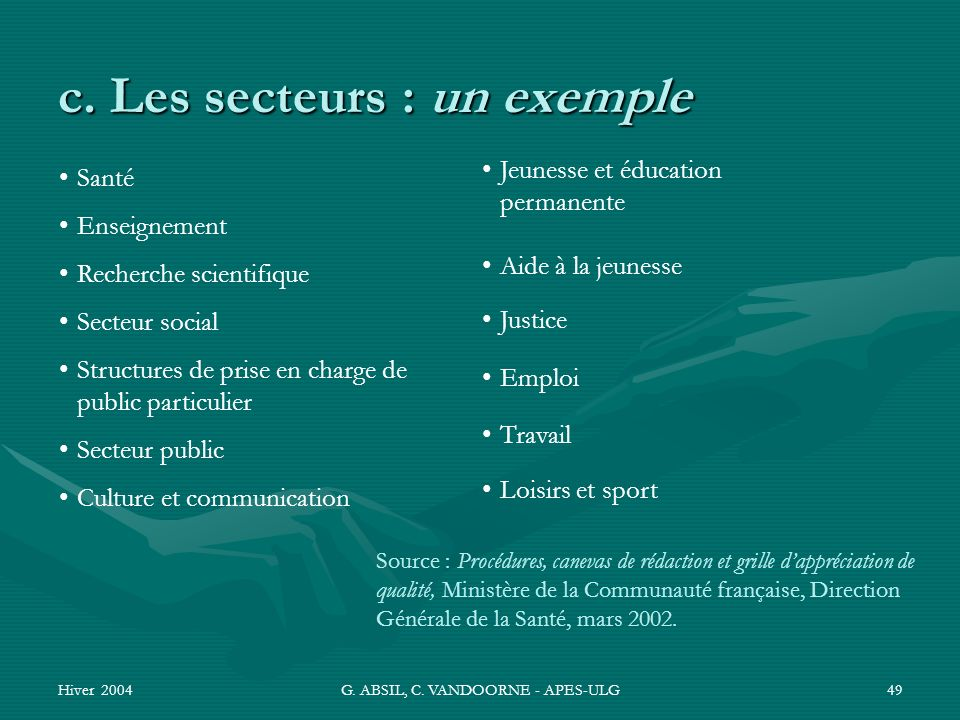 c. Les secteurs : un exemple
