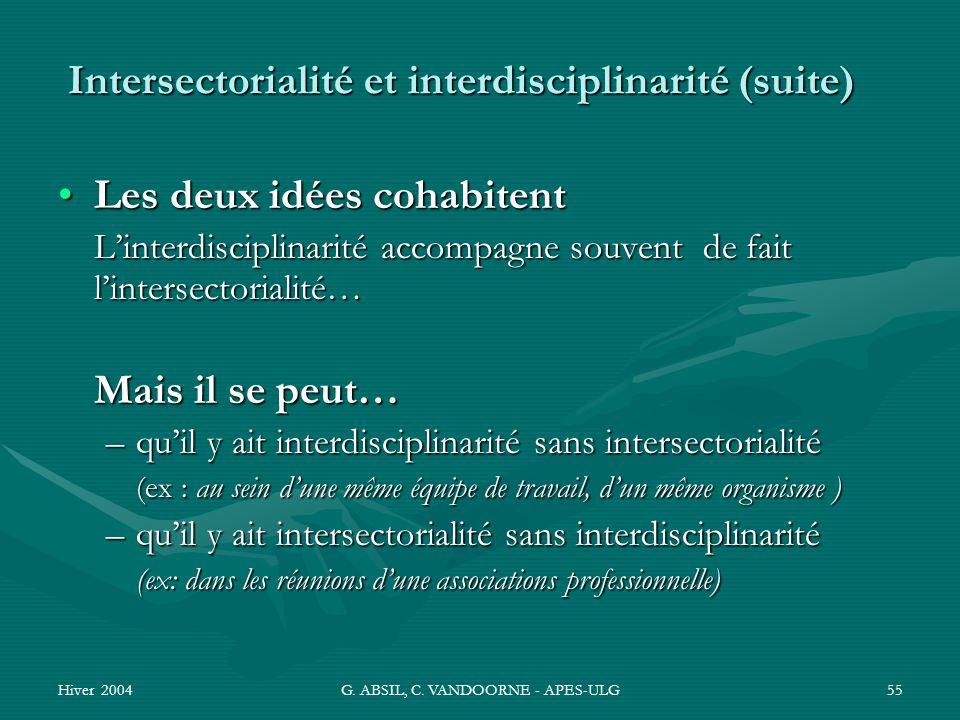 Intersectorialité et interdisciplinarité (suite)