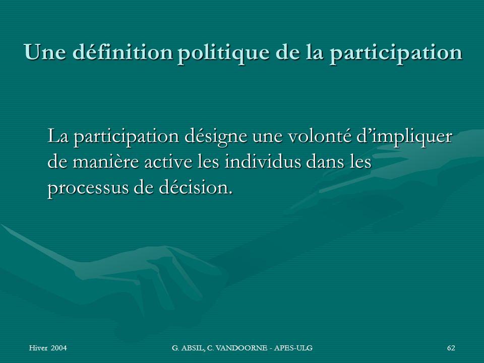 Une définition politique de la participation
