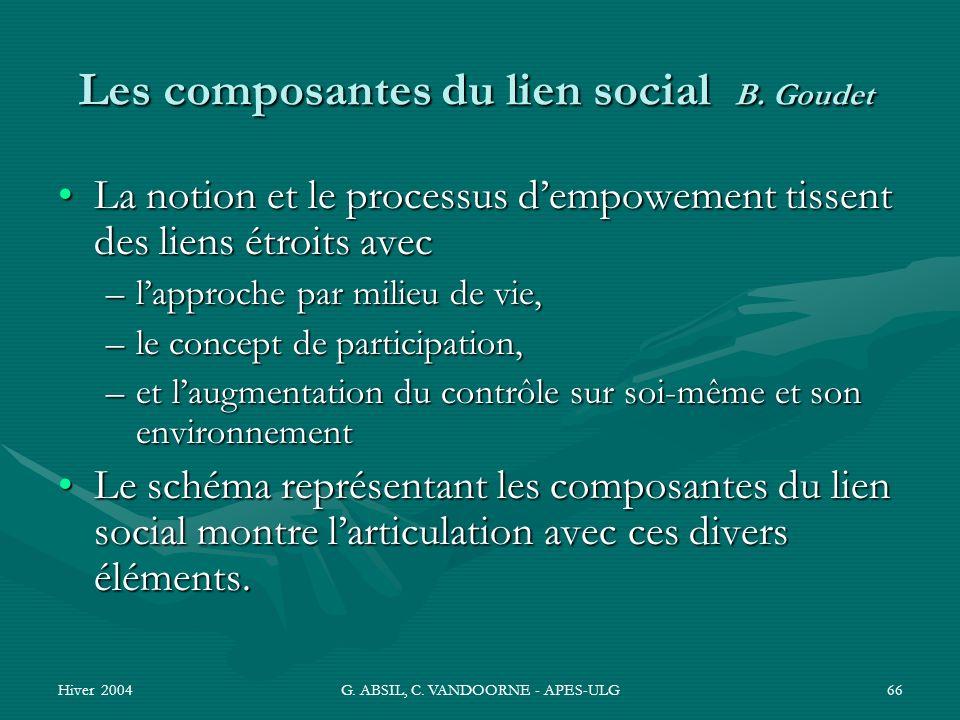 Les composantes du lien social B. Goudet