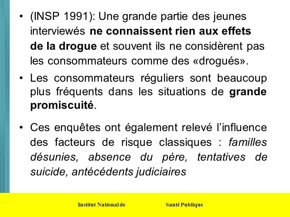 (INSP 1991): Une grande partie des jeunes interviewés ne connaissent rien aux effets de la drogue et souvent ils ne considèrent pas les consommateurs comme des «drogués».