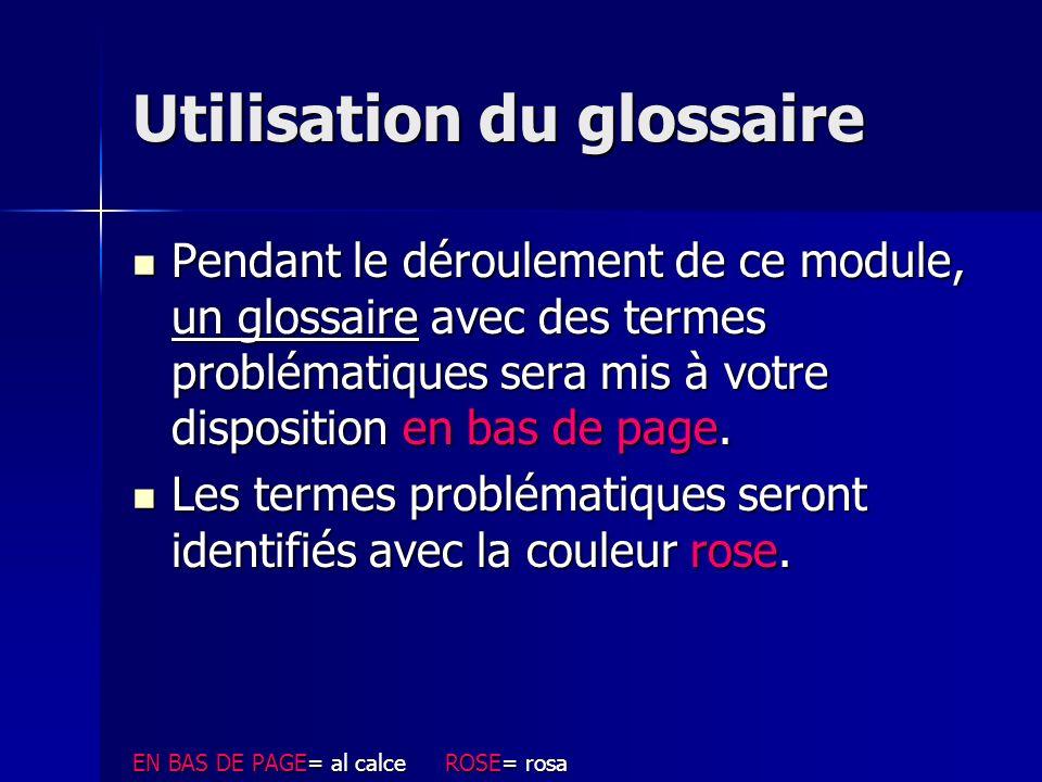 Utilisation du glossaire