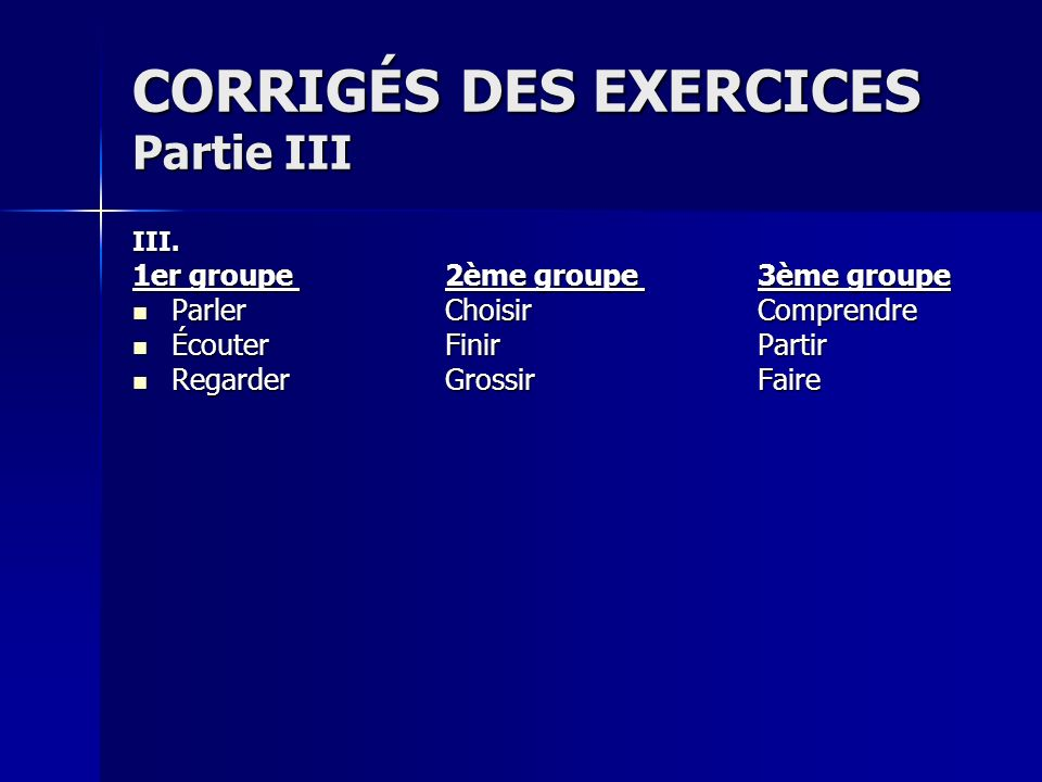 CORRIGÉS DES EXERCICES Partie III