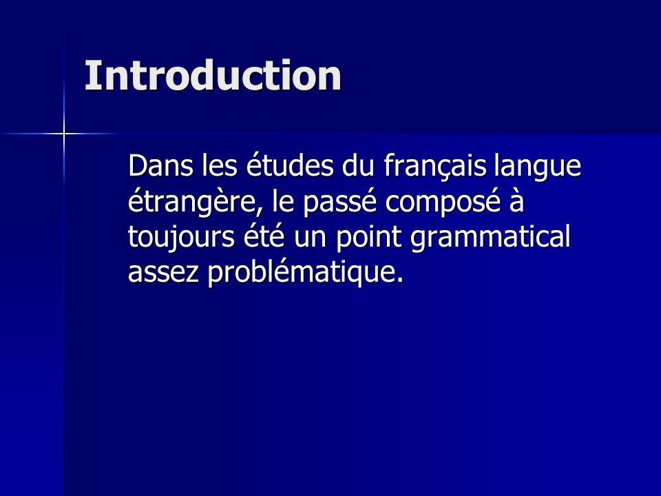 Introduction Dans les études du français langue étrangère, le passé composé à toujours été un point grammatical assez problématique.
