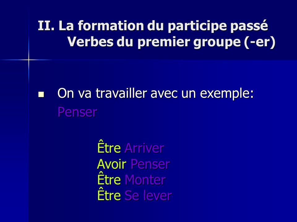II. La formation du participe passé Verbes du premier groupe (-er)