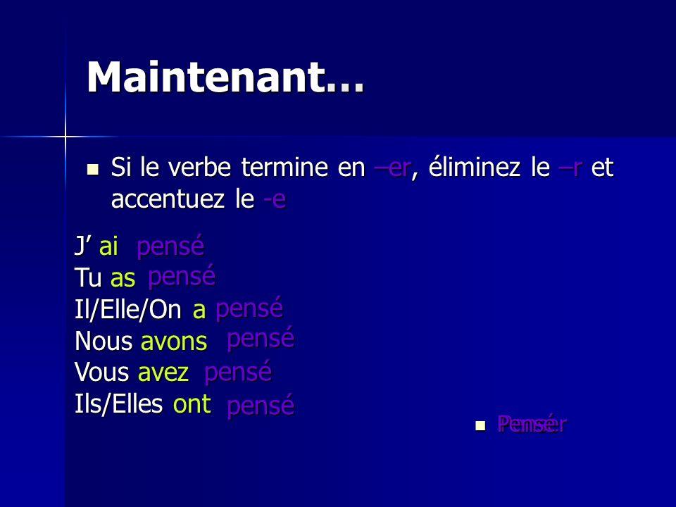 Maintenant… Si le verbe termine en –er, éliminez le –r et accentuez le -e. J' ai. Tu as. Il/Elle/On a.