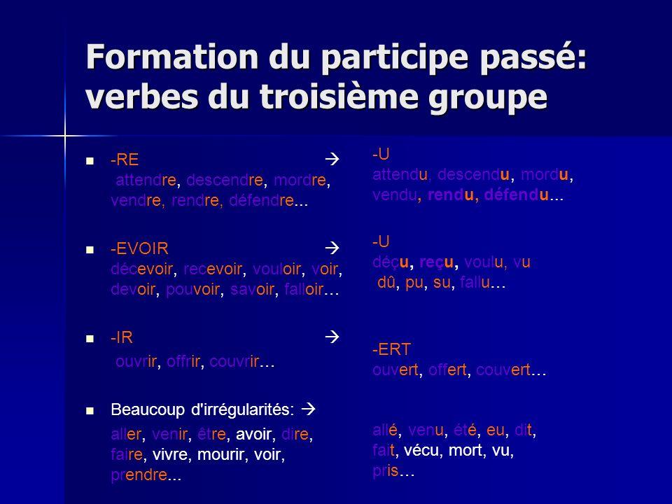 Formation du participe passé: verbes du troisième groupe