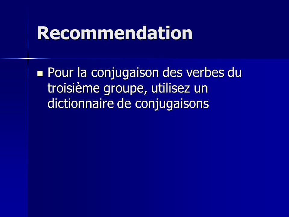 Recommendation Pour la conjugaison des verbes du troisième groupe, utilisez un dictionnaire de conjugaisons.