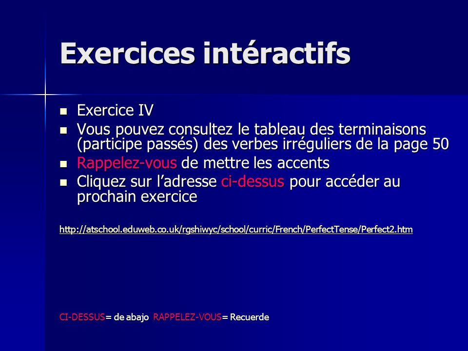 Exercices intéractifs