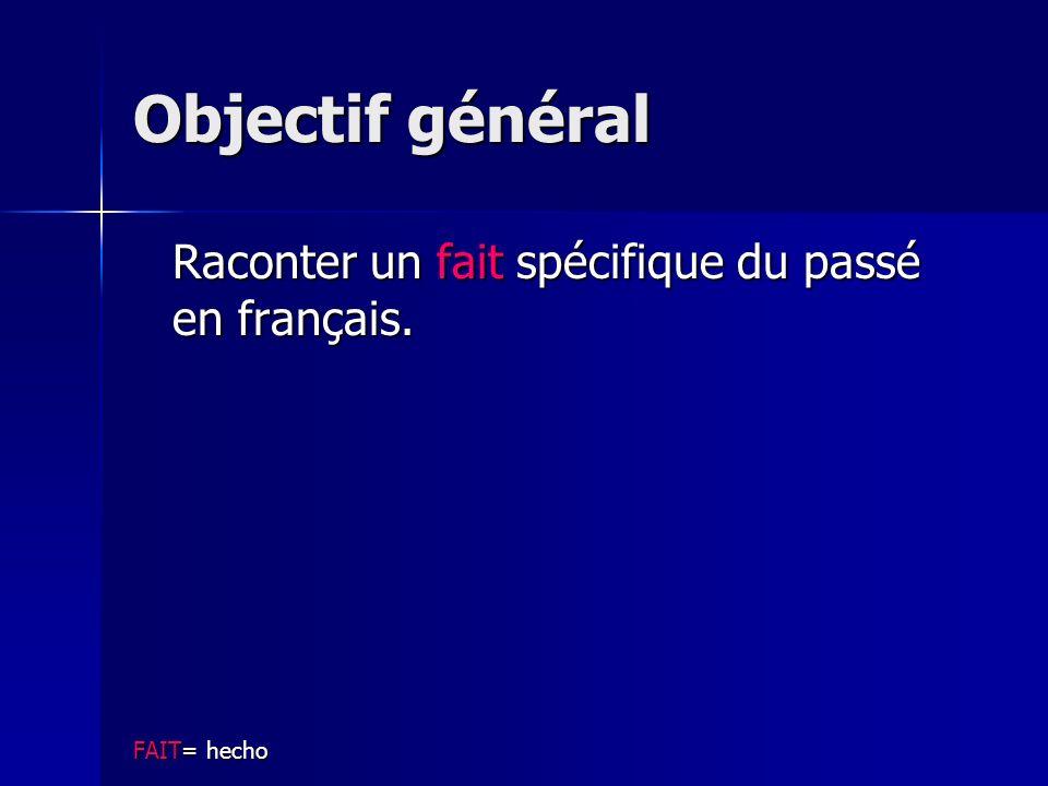 Objectif général Raconter un fait spécifique du passé en français.
