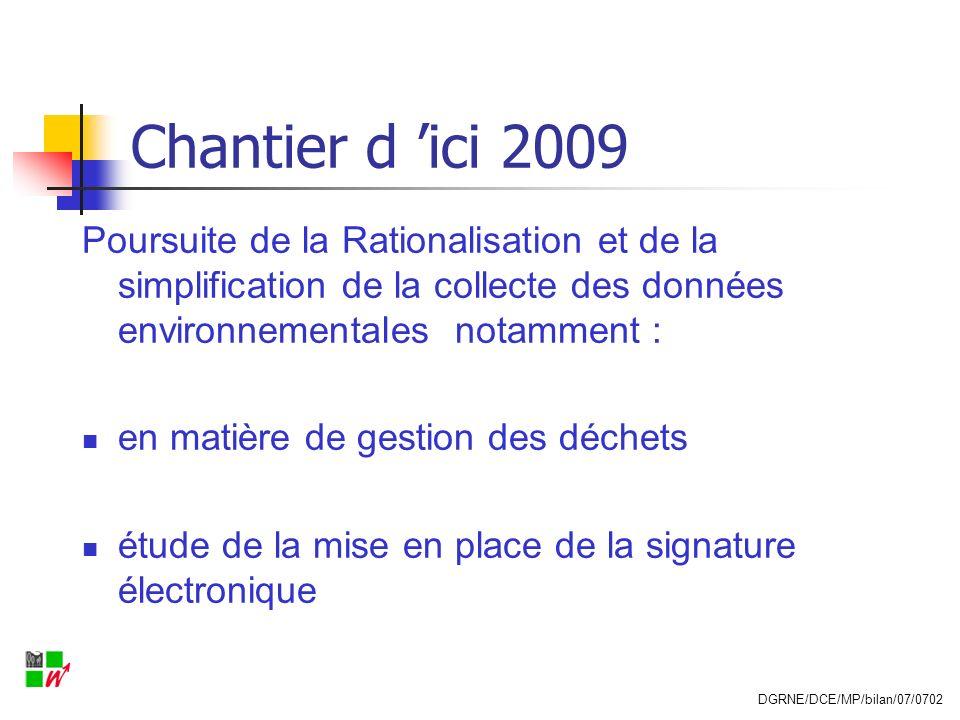 Chantier d 'ici 2009 Poursuite de la Rationalisation et de la simplification de la collecte des données environnementales notamment :