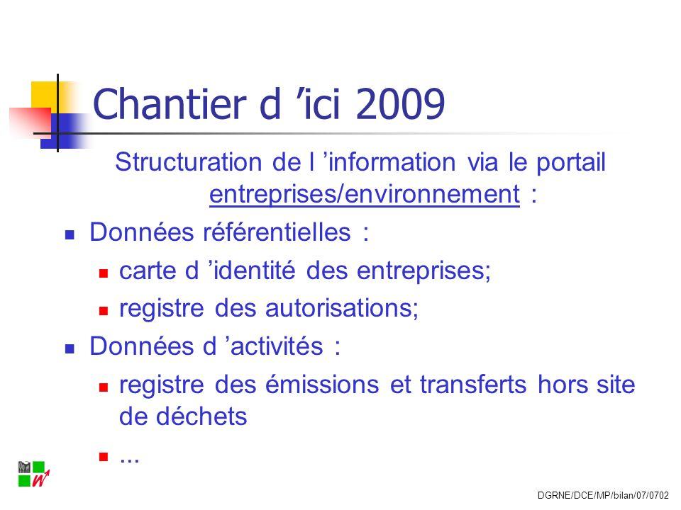 Chantier d 'ici 2009 Structuration de l 'information via le portail entreprises/environnement : Données référentielles :