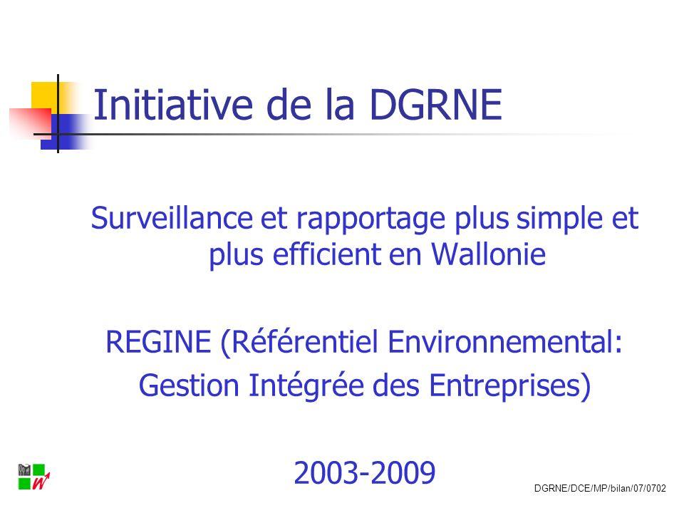 Initiative de la DGRNE Surveillance et rapportage plus simple et plus efficient en Wallonie. REGINE (Référentiel Environnemental: