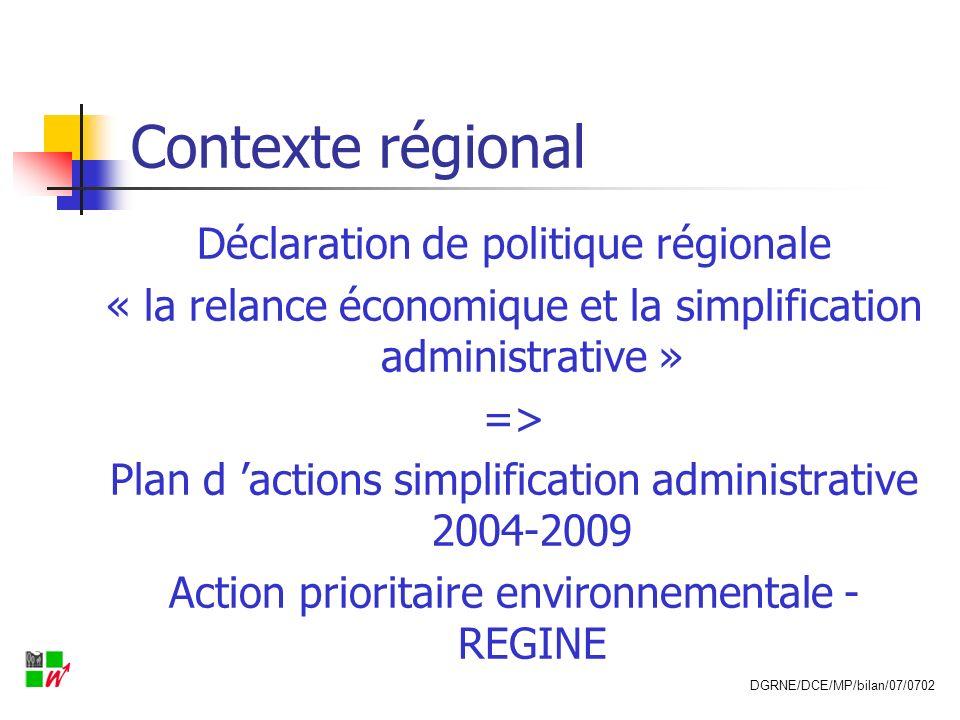 Contexte régional Déclaration de politique régionale