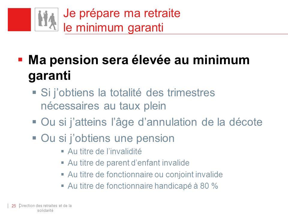 Je prépare ma retraite le minimum garanti