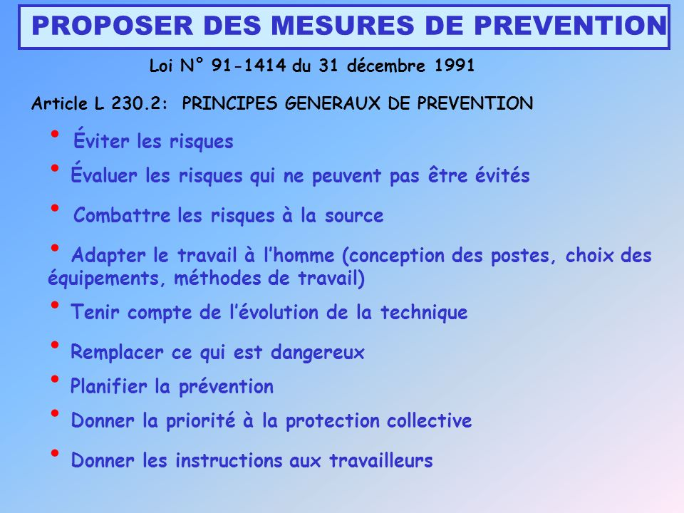 PROPOSER DES MESURES DE PREVENTION