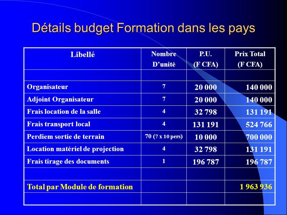 Détails budget Formation dans les pays