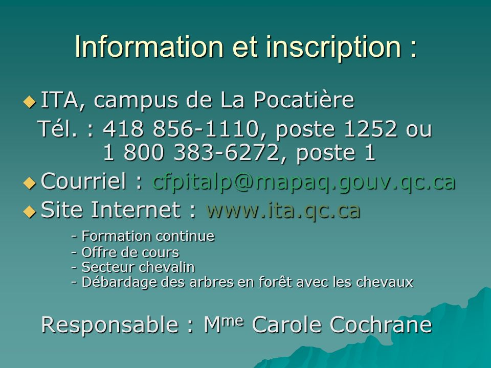 Information et inscription :