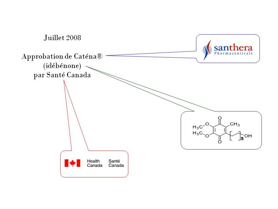Juillet 2008 Approbation de Caténa® (idébénone) par Santé Canada