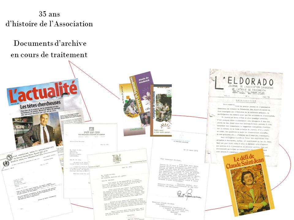 35 ans d'histoire de l'Association Documents d'archive en cours de traitement