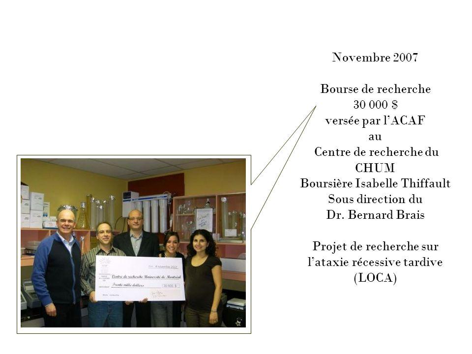 Novembre 2007 Bourse de recherche 30 000 $ versée par l'ACAF au Centre de recherche du CHUM Boursière Isabelle Thiffault Sous direction du Dr.