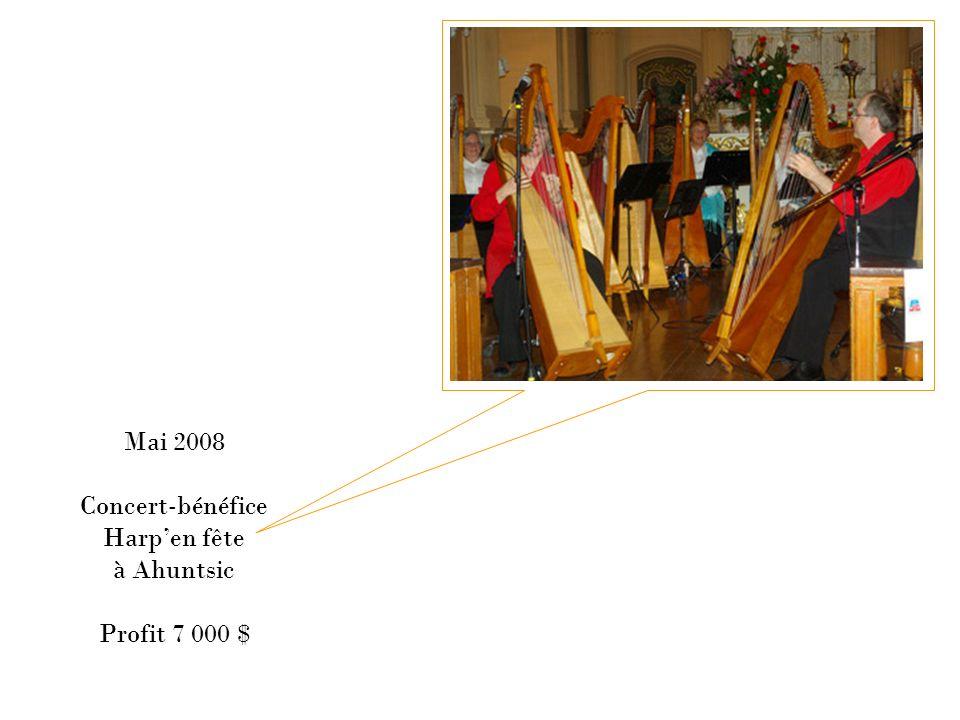 Mai 2008 Concert-bénéfice Harp'en fête à Ahuntsic Profit 7 000 $
