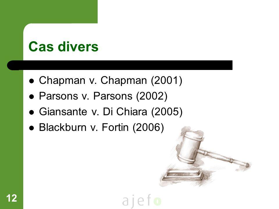 Cas divers Chapman v. Chapman (2001) Parsons v. Parsons (2002)