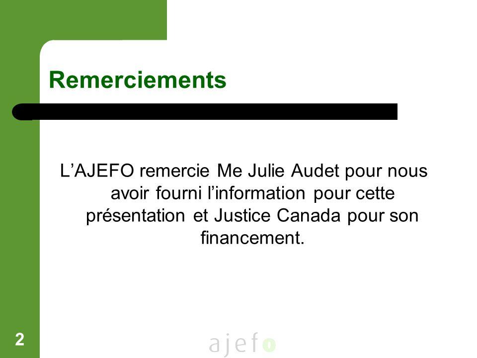 Remerciements L'AJEFO remercie Me Julie Audet pour nous avoir fourni l'information pour cette présentation et Justice Canada pour son financement.