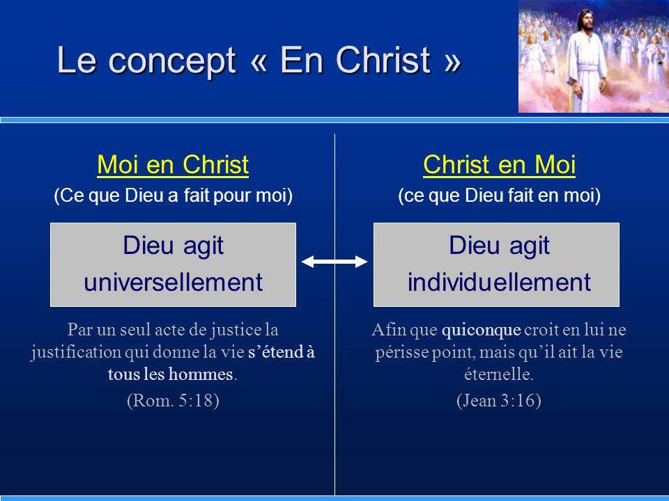 Le concept « En Christ » Moi en Christ Dieu agit universellement