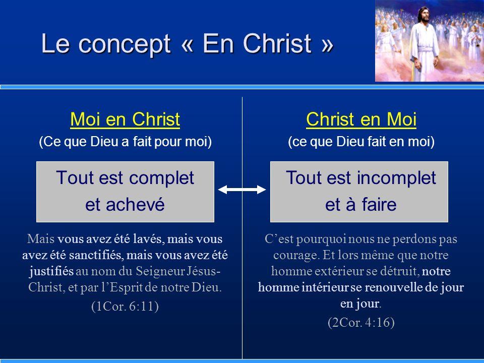 Le concept « En Christ » Moi en Christ Tout est complet et achevé