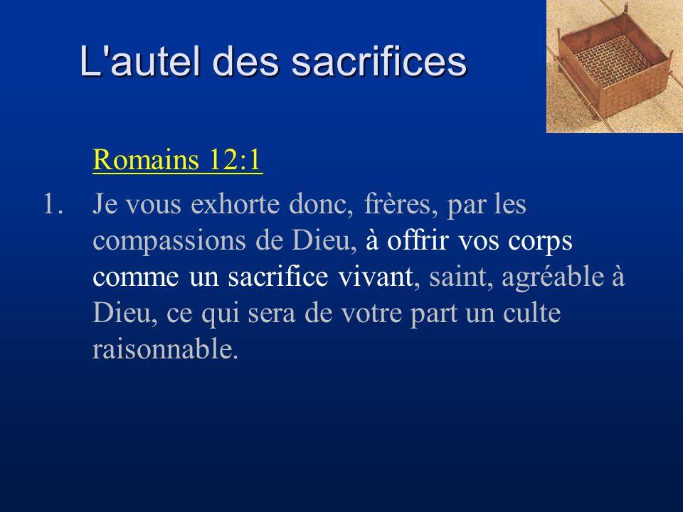 L autel des sacrifices Romains 12:1
