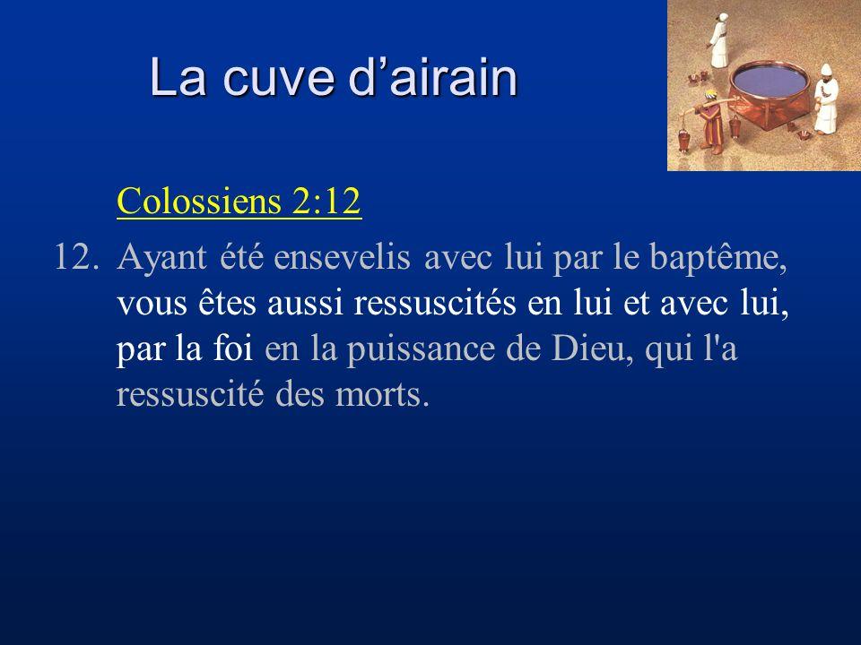 La cuve d'airain Colossiens 2:12