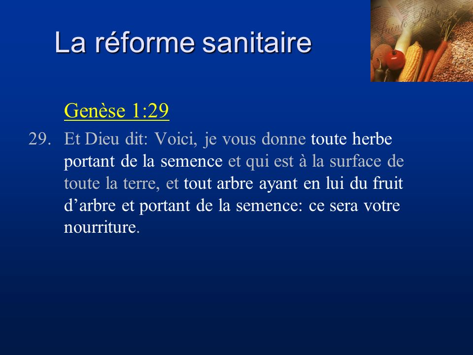 La réforme sanitaire Genèse 1:29