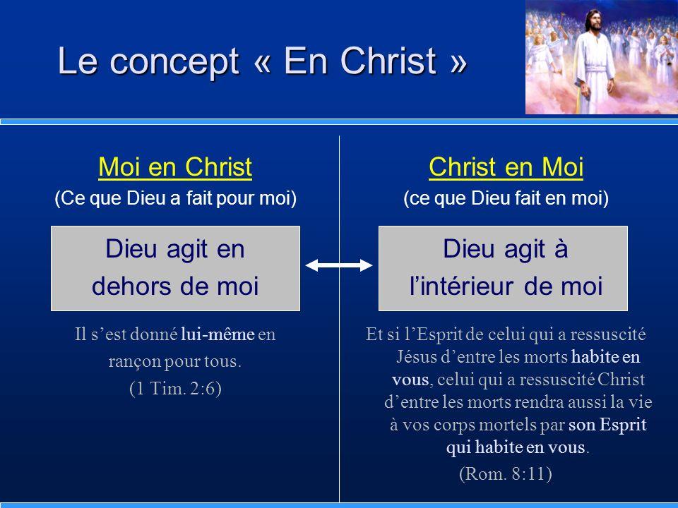 Le concept « En Christ » Moi en Christ Dieu agit en dehors de moi