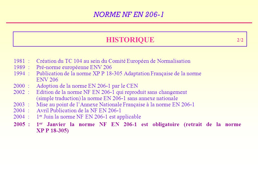 HISTORIQUE 2/2. 1981 : Création du TC 104 au sein du Comité Européen de Normalisation. 1989 : Pré-norme européenne ENV 206.