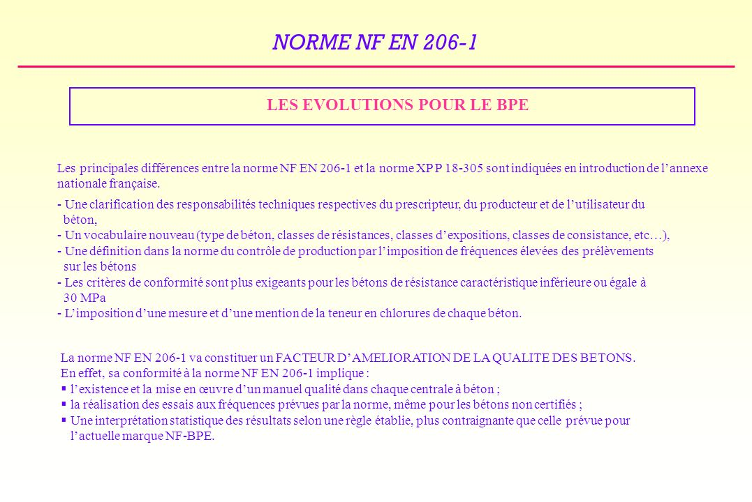 LES EVOLUTIONS POUR LE BPE